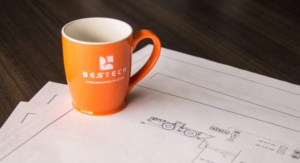 mug on engineering drawing